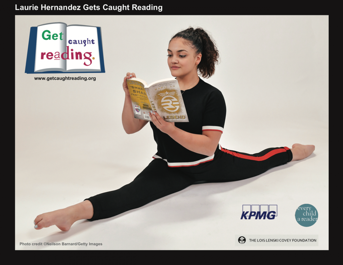 """Announcing the Relaunch of """"Get Caught Reading"""" with Free Posters for Teachers  First new 2019 classroom poster features Olympic gold medalist and author Laurie Hernandez"""